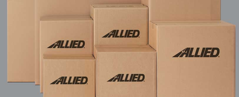Stacks of Allied moving boxes