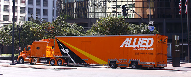 Allied Truck in front of building