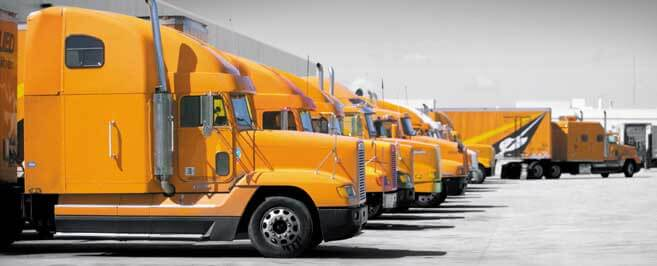 Lot with parked Allied Trucks