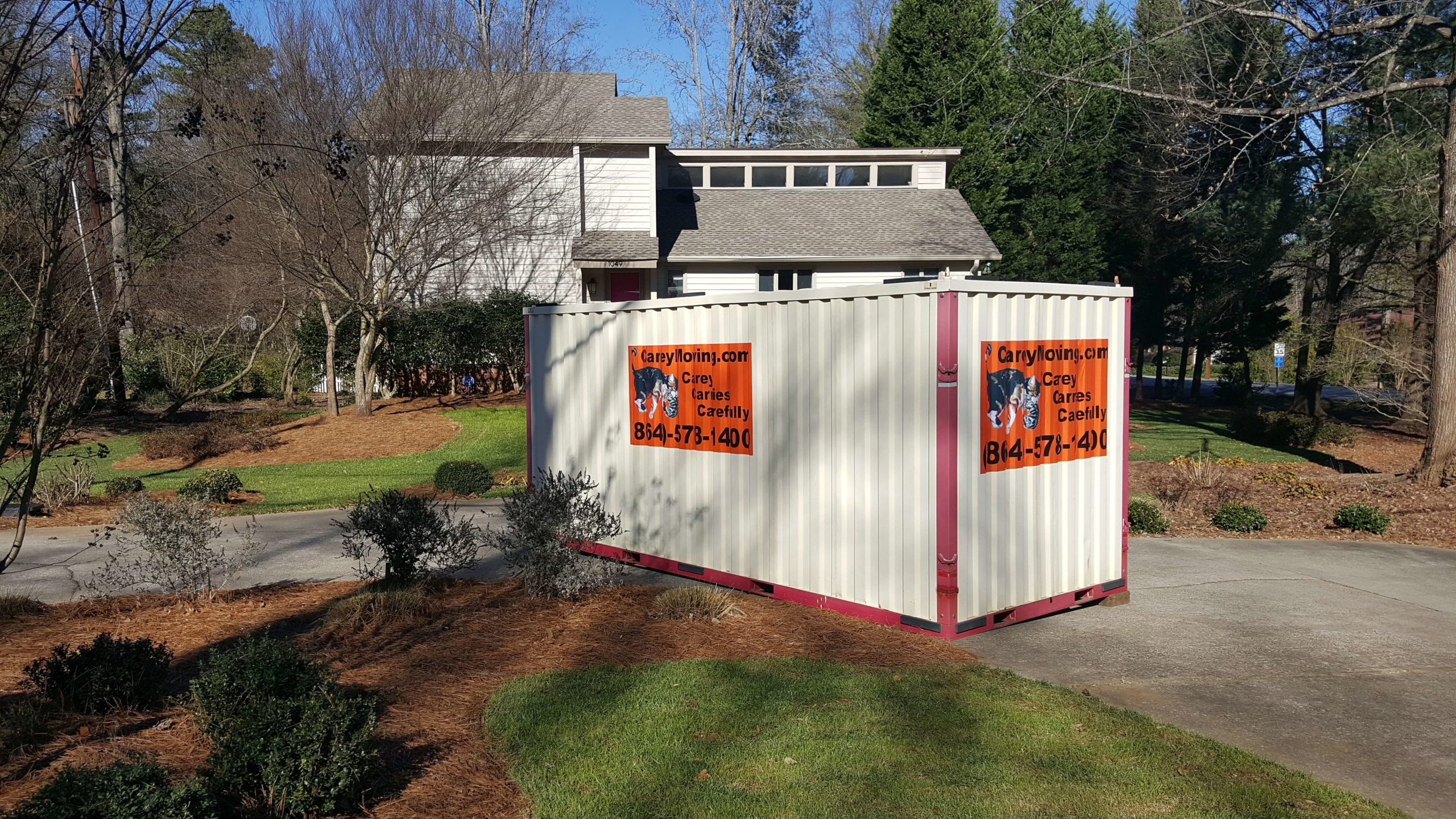 Portable storage in front of house