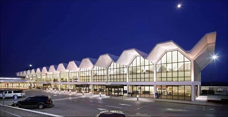 Airport terminal at night