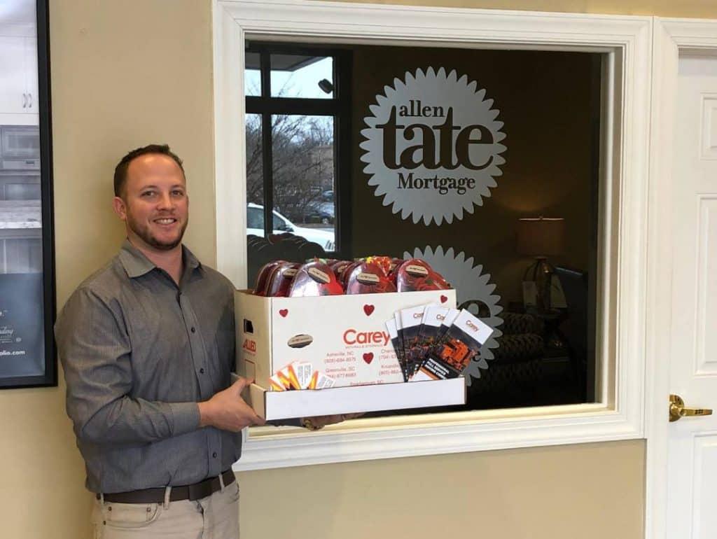 Carey Delivers Valentine box to Allen Tate Mortgage
