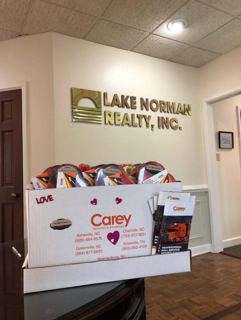Carey Delivers Valentine box to Lake Norman Realty