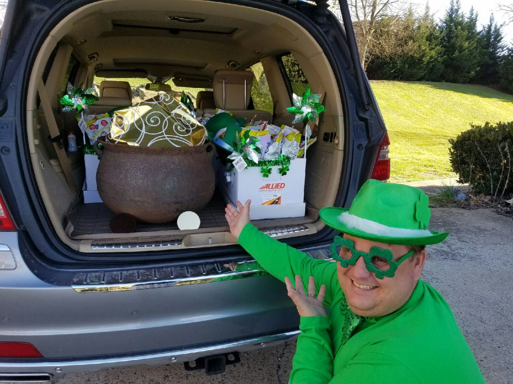 Chris with a car load of St Patrick's Day goodies to deliver